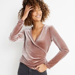 Madewell Velvet Ballet Wrap Stretch Top